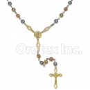 Orotex Gold Layered 6mm Filligree Tri-Color Rosary