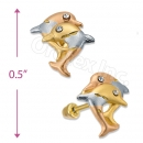 Orotex Gold Layered Tri-color Stud Earrings