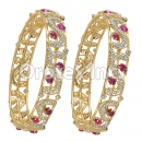 Set of Two Purple & White CZ Indian Gold Plated Bangle