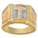 Orotex Gold Layered CZ Tri-color Men's Ring