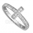 925 Sterling Silver Cross Cz Women's Ring