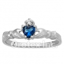 925 Sterling Silver Blue Topaz Claddagh Cz Womens Ring